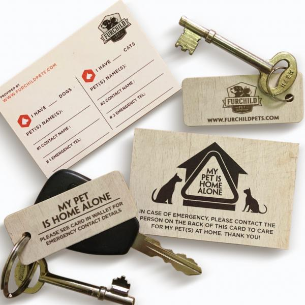 """MY PET IS HOME ALONE"" CARD & KEY CHAIN"